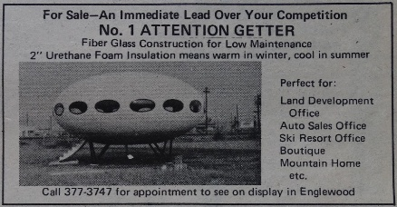 Cervi's Rocky Mountain Journal - Futuro Ad - Displayed In Englewood, CO - Detail