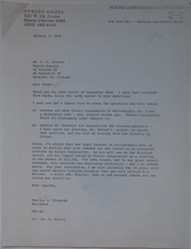 Futuro Corporation Of Colorado & Polykem Correspondence - Charles Cleworth To C.J. Olander - 100770