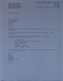 Futuro Corporation Of Colorado & Polykem Correspondence - Charles Cleworth To C.J. Olander - 091071