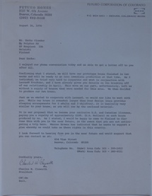 Futuro Corporation Of Colorado & Polykem Correspondence - Charles Cleworth To C.J. Olander - 082670