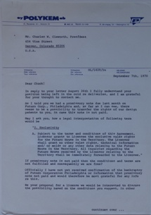 Futuro Corporation Of Colorado & Polykem Correspondence - C.J. Olander To Charles Cleworth - 090770 - 1