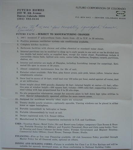 Futuro Corporation Of Colorado - Undated Futuro Fact Sheet