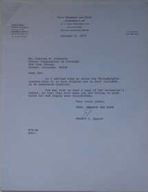 Letter - Neef, Swanson & Myer To Futuro Corporation Of Colorado - 100670