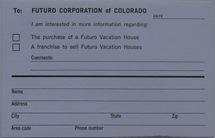 Futuro Corporation Of Colorado - Customer Interest Postcard - Back
