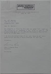 Futuro Corporation Of Colorado - Platform (Futuro) House - June 1973 - Letter To Client