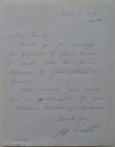 Futuro Corporation Of Colorado - Platform (Futuro) House - June 1973 - Letter To Company