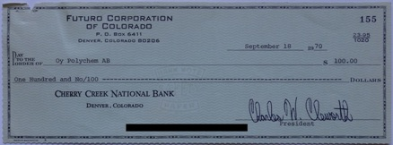 Check | Futuro Corporation Of Colorado Check To Polykem | Uncashed  | 091870