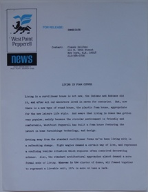 WestPoint Pepperell Press Release - Living In Foam Curves - Undated - 1
