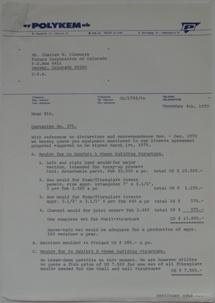 Polykem Quotation #375 To Futuro Corporation Of Colorado [Gulf - Venturo - CF100?] - 120470 - 1