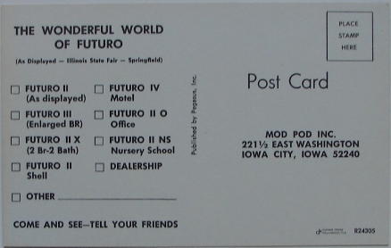 Futuro Advertising Trade Card - Illinois State Fair - Mod Pod Inc - Back