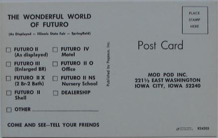 Futuro Advertising Trade Card - Illinois State Fair - Mod Pod Inc - Back