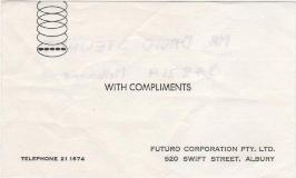 Futuro House - Brett Colquhoun With Compliments Card