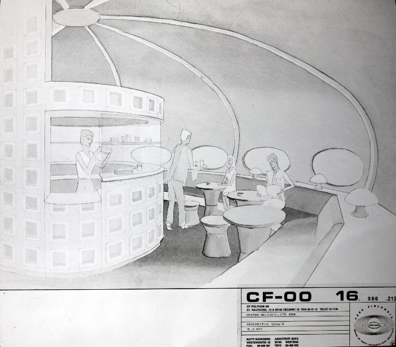 Futuro Two Story Variant - Interior Drawing - Espoo City Museum Collection