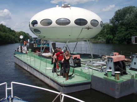 Futuro, Berlin, Germany - Futuro 13 On A Barge - Cora Facebook Timeline
