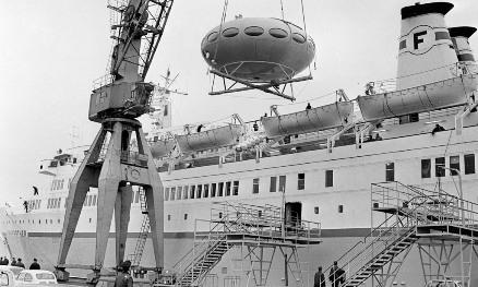 Futuro Being Loaded Onto Finnpartner Ferry - Helsinki - 1968 - Courtesy MTV.FI