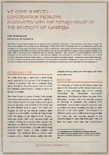 Paper By John Greenwood On Proposed Restoration Of University Of Canberra Futuro
